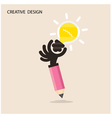 Creative bulb light idea and pencil hand vector image vector image
