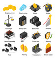 cryptocurrency mining blockchain 3d icons set vector image vector image