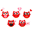 Cute owls for Valentines day isolated on white