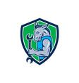 Donkey Mechanic Spanner Mascot Shield Retro vector image vector image
