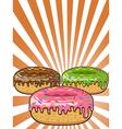 donuts on Sunburst background vector image