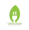 electrical plug leaf logo design vector image