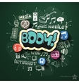 Entertainment and music collage with icons on vector image