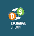exchange bitcoin for money vector image vector image