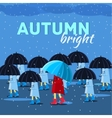 Girl and boy with umbrella in a autumn raining day vector image