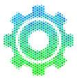 halftone blue-green cog icon vector image vector image