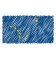 hand drawn national flag of alaska isolated on a vector image vector image