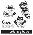 Hand drawn outline cartoon animals in superheroes vector image
