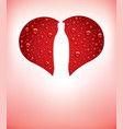 heart with red water drops and shape of bottle vector image vector image