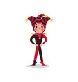 jester or festival fool cartoon character standing vector image vector image