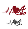 letter a with heart and heart beat vector image vector image