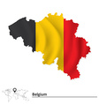 Map of Belgium with flag vector image vector image