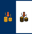 money transfer fund analysis icons flat and line vector image vector image
