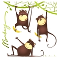 Monkey Fun Cartoon Hanging on Vine with Banana vector image