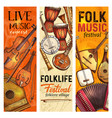 musical instrument banner of folk music festival vector image vector image