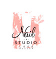 nail studio logo design template for nail bar vector image