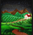 nature scene with raining in the hillside vector image vector image