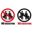 no soliciting symbol sign vector image vector image