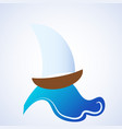 ocean sea water wave with sailing ship vector image
