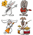 rabbits rock musicians set cartoon vector image vector image