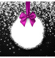 round christmas background with lilac bow vector image vector image