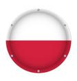 round metallic flag of poland with screws vector image