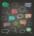 set hand-drawn doodles on chalk board vector image