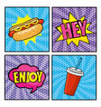 set hot dog with pop art messages and plastic soda vector image vector image