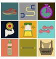 set of icons in flat design fitness equipment vector image