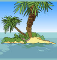 small cartoon island with two palm trees vector image vector image