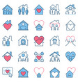 stay at home modern icons people under house roof vector image