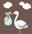 Stork With Baby Card vector image vector image