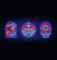 tattoo parlor set logos in neon style vector image vector image