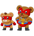 two bear in a superhero costume vector image vector image