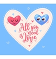 Two cute hearts in love vector image vector image