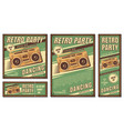 vintage banner retro party vector image