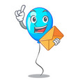 with envelope blue balloon character on the rope vector image