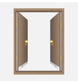 Wood open door with frame vector image vector image