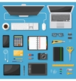 Workspace Top View Decorative Icons Set vector image vector image