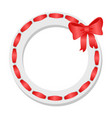 wreath with red ribbon and bow icon vector image