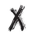 x mark grunge textured hand drawn vector image