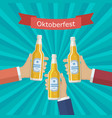 hands with a bottle of beer vector image