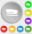 Stapler and pen icon sign Symbol on eight flat vector image