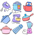 doodle of kitchen set design art vector image