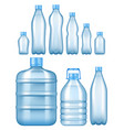 realistic plastic water bottles set vector image