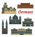 Travel guide thin line icon of german attractions vector image