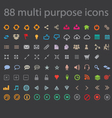 88 Multi-purpose Icons Modern Flat Design vector image