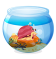 A snail inside an aquarium vector image