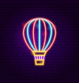 air balloon neon label vector image vector image