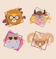 animals in glasses cute cartoon characters vector image